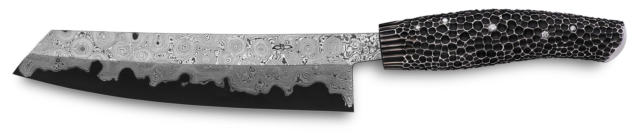 nesmuk exklusiv kochmesser massives silber 8 brillanten. Black Bedroom Furniture Sets. Home Design Ideas